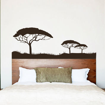 Wall Decal Safari Africa Desert Trees Summer Grass Forest Jungle Wild Nature Design Wall Decals Bedroom Living Room Stickers Home Decor 3933