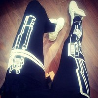 work out letters Leggings Tight Leggings (black)