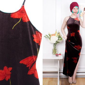Black Velvet Dress 90s Vintage 1990s Algo Big Red Flower Pattern Strap Long New Years Dress