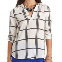 Mandarin V-Neck Windowpane Plaid Top by Charlotte Russe - Ivory Combo