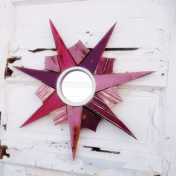 Pink Sunburst Mirror, Reclaimed Wood Mirror, Mauve Sun Burst Mirror, Girls Nursery Mirror, Beach House Decor, Recycle Wood Mirror,Mirror Art