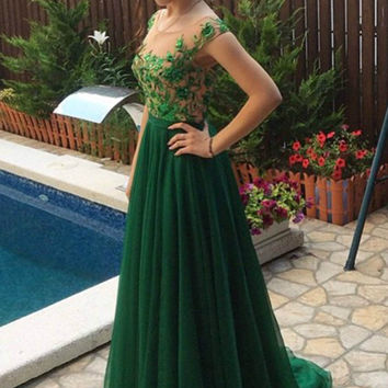 Backless Prom Dresses,Green Prom Dresses, Long Evening Dress