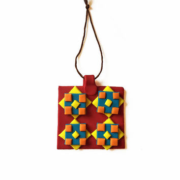 Quilt Inspired Ornament - Patchwork Ornament - Textile Ornament - Abstract Ornament - Geometric Ornament - Christmas Ornament - Quilting