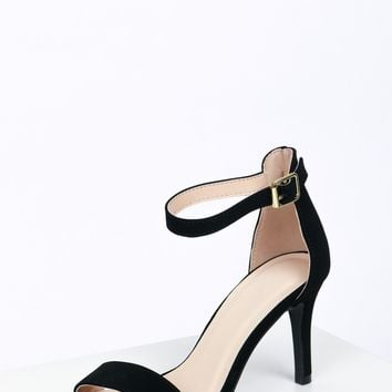 Classic Low Ankle Strap Heel Black Nubuck
