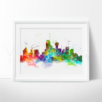 Dallas Skyline Watercolor Art Print