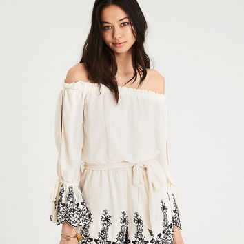 AE LINED OFF-THE-SHOULDER SLIT SLEEVE EMBROIDERED ROMPER, Cream