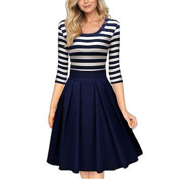 Designer Brand Women's Summer Navy Stripe Scoop Neck Swing Dress