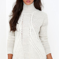 Born and Raised Light Beige Cable Knit Sweater
