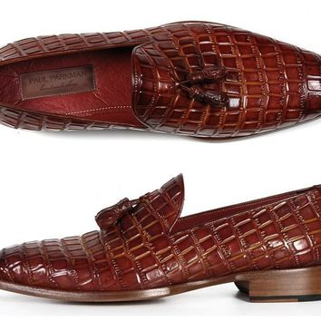 Paul Parkman Men's Brown Crocodile Embossed Calfskin Tassel Loafer (ID#0823-BRW)