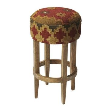 Las Cruces Kilim Pouffe Bar Stool