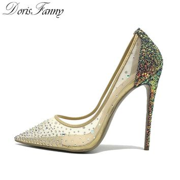 DorisFanny blingbling women shoes high heels stilettos purple glitter shoes 12cm/10cm/8cm sexy high heel pumps