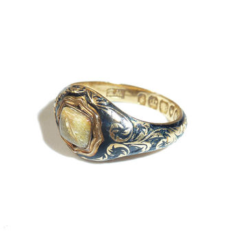 Georgian Enamelled 18 Carat Gold Mourning Ring With Inscription, Rutilated Quartz