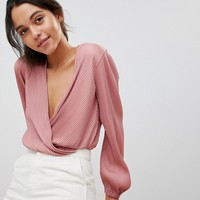 ASOS Plisse Cropped Wrap Top at asos.com