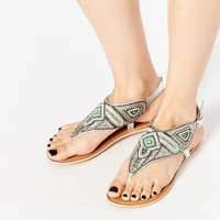 New Look Flat Beaded Sandals
