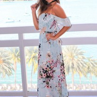 Light Blue Floral Off Shoulder Maxi Dress