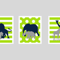 Safari Animals Navy Gray Lime Print, Boy Nursery, CUSTOMIZE YOUR COLORS, 8x10 Prints, set of 3, nursery decor nursery print art baby decor