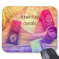 Travel mousepad vintage map camera