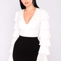 Let's Dance Ruffle Sleeve Top - Off White