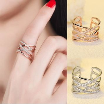 ined diamond tail ring Simple open silver ring