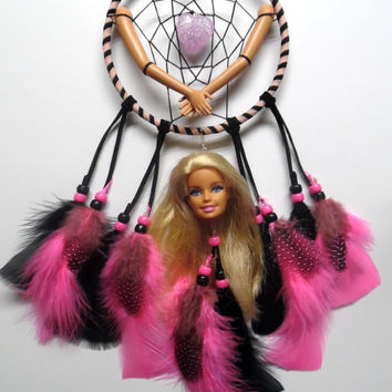 Doll Parts Statement Piece Dream Catcher, pink and black dream catcher