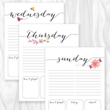 Printable to do list, daily to-do printable, weekly planner calendar notepad, floral accents, digital PDF ORG 001 - Back to school printable