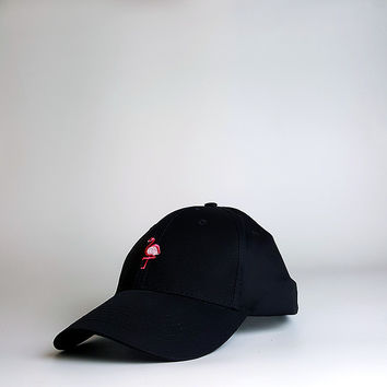 Black Flamingo Embroidered Baseball Cap Hat