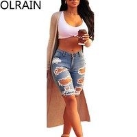 Olrain Women's High Waist Ripped Hole Washed Distressed Midi Short Jeans Slim Stretchy Denim Shorts