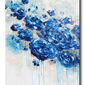 GICLEE PRINT Large Art Abstract Painting Blue Flowers Navy Blue White Floral Canvas Print Botanical