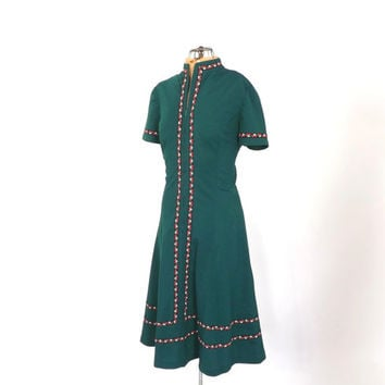Vintage 1960s 70s Green Folk Dress Boho Summer Sundress Hippie Peasant Festival Bavarian Medium Octoberfest German Dress Retro Day Dress