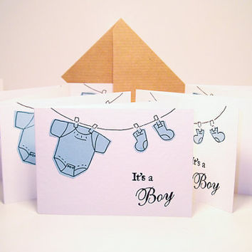 Baby Announcement It's a Boy - Baby Shower Invitations -  Baby Greeting Card - Baby Thank You Card