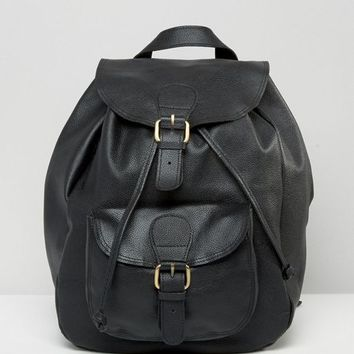 ASOS Leather Front Pocket Backpack at asos.com