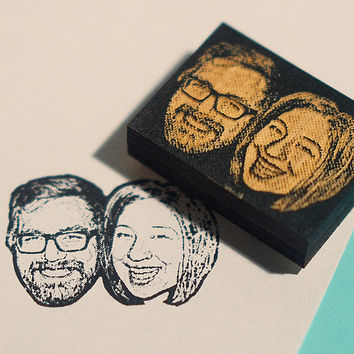 Custom couple face stamp / wedding stamp