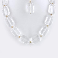RADIANT CUT ACRYLIC NECKLACE SET