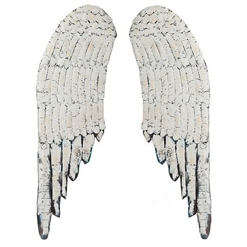 Vintage Distressed Wood and Metal Angel Wings - Wall Decor 40-in