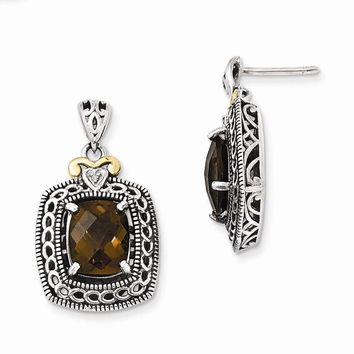Antique Style Sterling Silver Diamond & Smokey Quartz Earrings