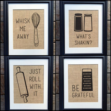 Choose Four Funny Kitchen Home Decor Burlap Print Wall Decor | Best Kitchen Prints | Rustic Home Decor | Housewarming Gift