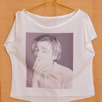 Leonardo Dicaprio Smoking Pop Punk Vintage Lady Women Fashion T shirt Wide Crop Top Free Size