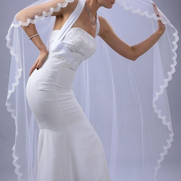 Wedding Mantilla Veil White 1 Tier Long Chapel Length With 1/2in Lace Edge