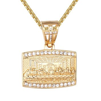 St. Jesus Christ Last Supper Religious Gold Finish Pendant