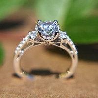 Round Diamond Engagement Ring - 1.16 carats - 14K white gold - 14K rose gold - or 14K yellow gold - Bp010