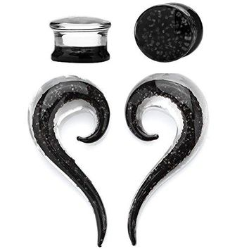 BodyJ4You 4PC Glass Ear Tapers Double Flare Plugs 4G-12mm Black Glow Dark Spiral Gauges Piercing Set