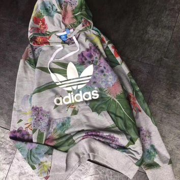 Adidas Women Long Sleeve Casual Top Pullover Floral Cotton Hoodie Sweatshirt Hoodie