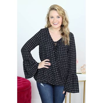 Black and White Bell Sleeve Top