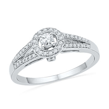 1/3 CT. T.W. Diamond Frame Split Shank Engagement Ring in 10K White Gold|Zales