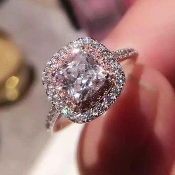 Fashion Jewelry Fashion Jewelry Cushion cut 2ct 5A Zircon stone Pink Cz wedding band ring for women 925 Sterling silver Ring