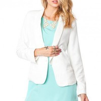 Open Blazer in White - ShopSosie.com