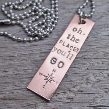 Necklace Oh The Places You'll Go One Tag Hand Stamped COMPASS Rectangle Jewelry Charm Copper Personalized Stainless Steel Chain Rustic Style