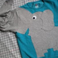 Elephant Trunk sleeve sweatshirt sweater jumper LADiES L PEACOCK Blue