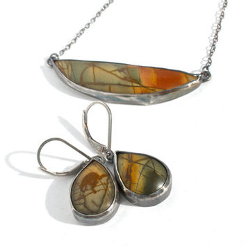 Picasso Jasper Necklace and Earring Set in Sterling Silver