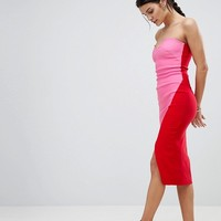 Vesper Sweetheart Bandeau Pencil Dress With Contrast Wrap Skirt at asos.com